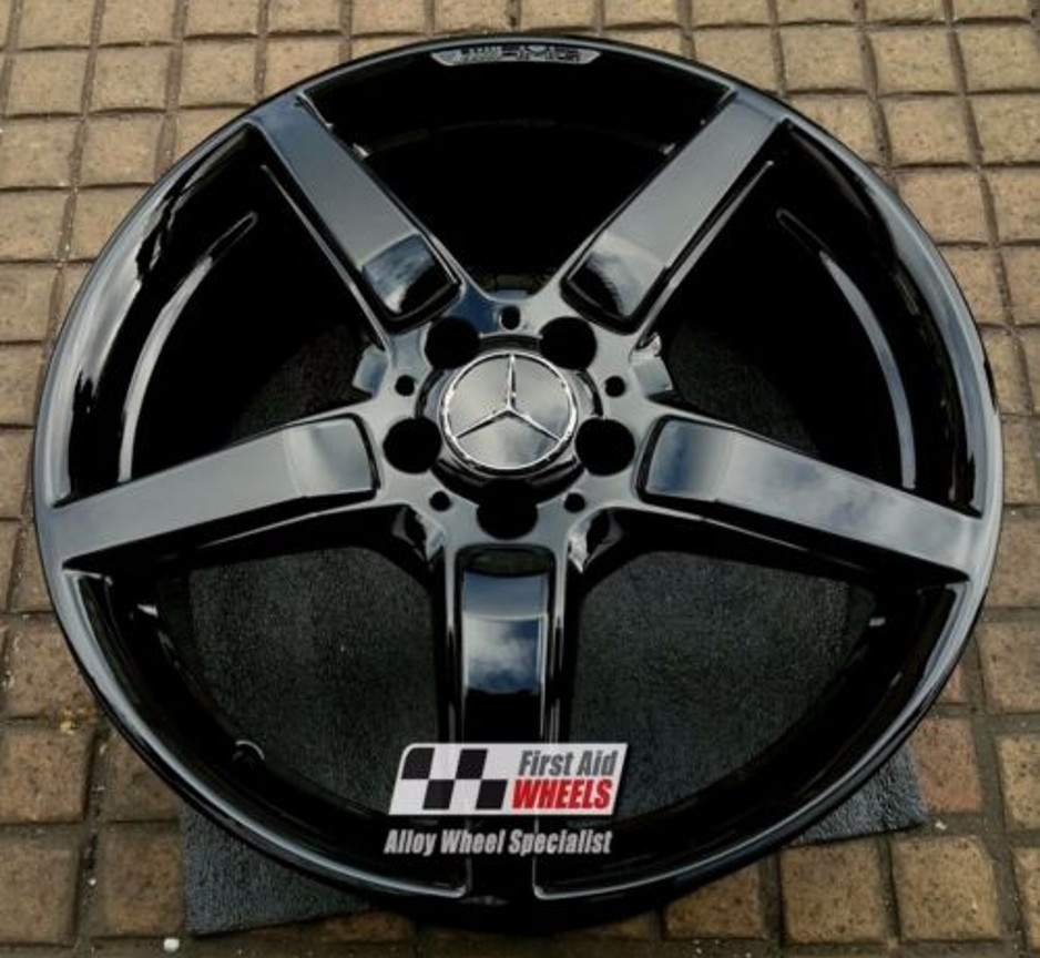 "R316 Gloss Black MERCEDES CLS C218 19"" - AMG 5 Spoke Genuine Alloy Wheels Set of 4 - EXCHANGE"