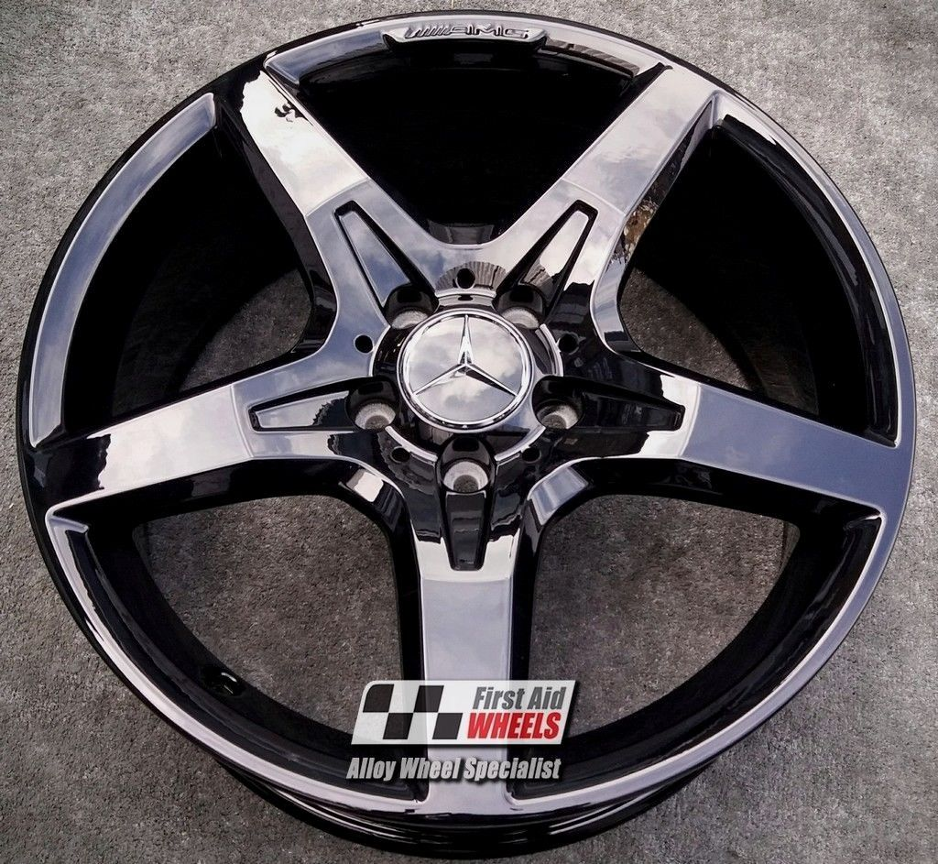"R337 Gloss Black MERCEDES SLK 18"" -  AMG 5 Spoke Genuine Alloy Wheels Set of 4 - EXCHANGE"