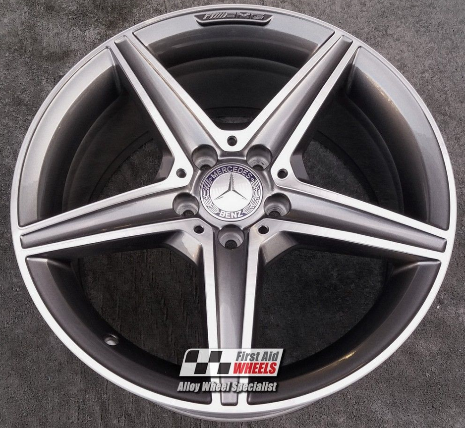 "R355 Diamond Cut Grey MERCEDES C-CLASS W205 18"" - AMG 5 Spoke Genuine Alloy Wheel Set of 4 - EXCHANGE"
