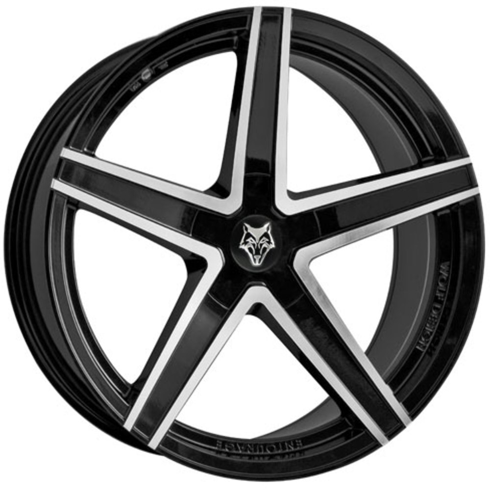 "Wolf Design Entourage 4x19"" Gloss Black & Diamond Cut Alloy Wheels for Tesla Model 3"