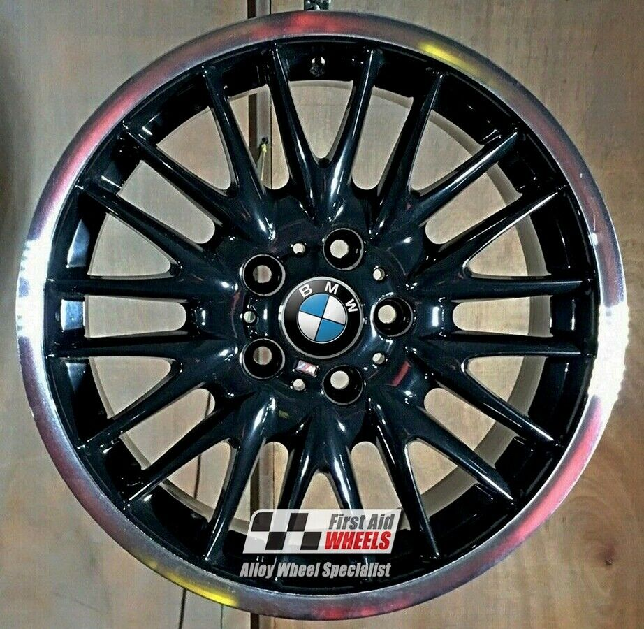 "R100DCB Exchange BMW 3 E46 4X 18"" GENUINE MV1 BLACK DIAMOND CUT ALLOY WHEELS"