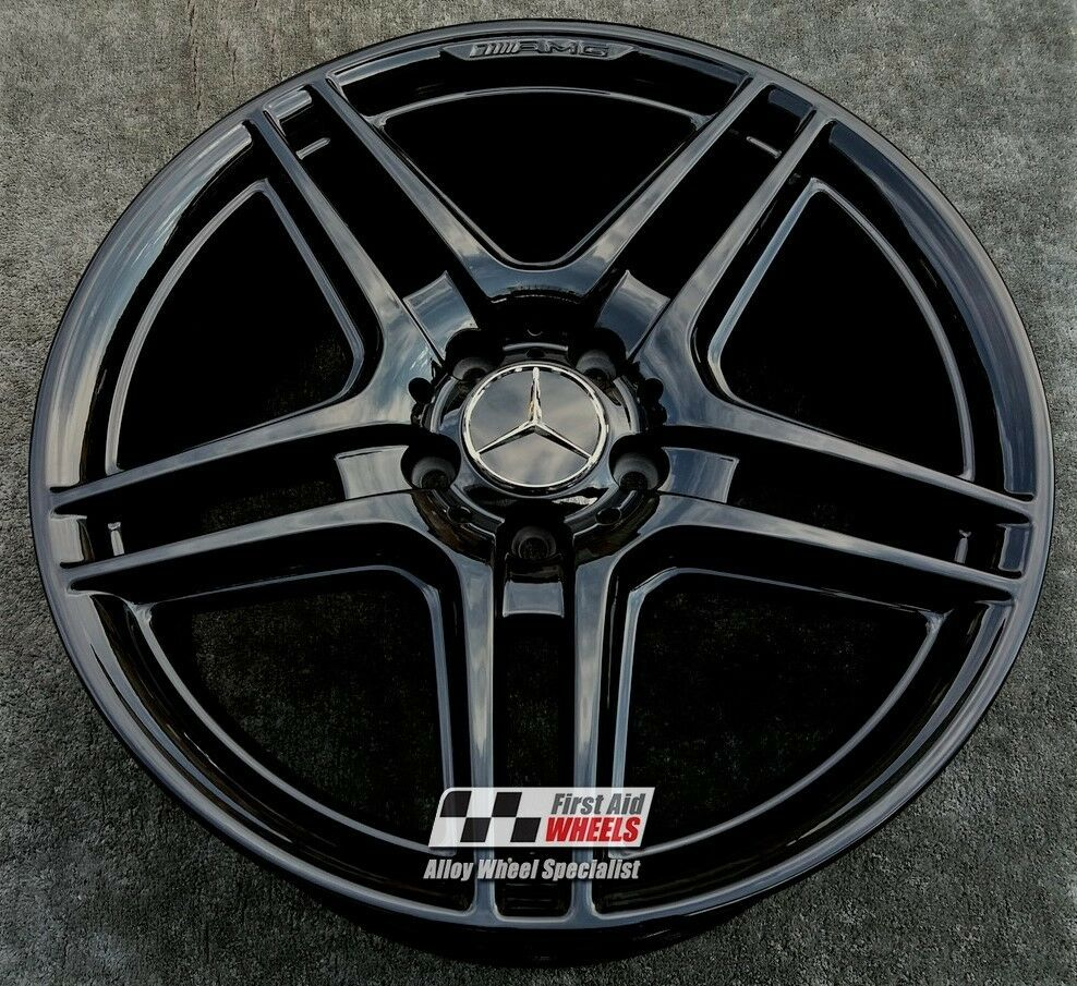 "R121BG Exchange MERCEDES C CLASS 4x 18"" GENUINE AMG IV GLOSS BLACK ALLOY WHEELS"
