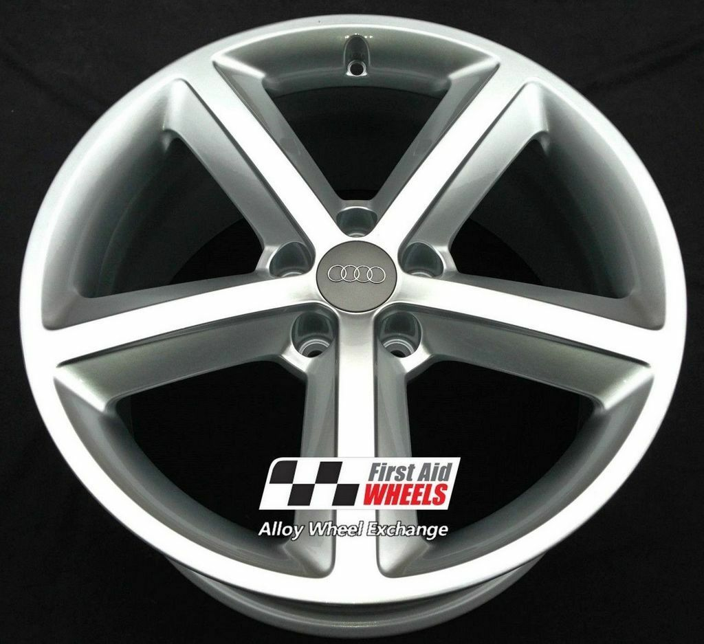 "R168S EXCHANGE Yours for Ours AUDI A5 4X 18"" GENUINE 5 SPOKE SILVER ALLOY WHEELS"