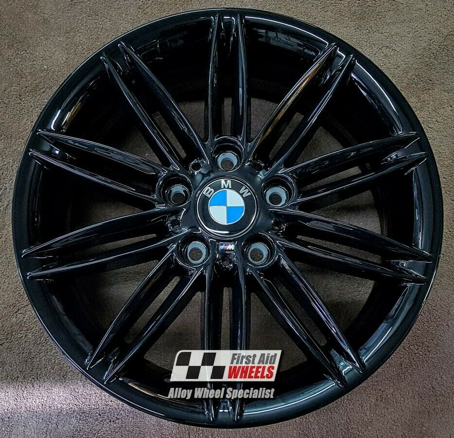"R221BG Exchange BMW 1 SERIES 4X 17"" GENUINE STYLE 207M GLOSS BLACK ALLOY WHEELS"
