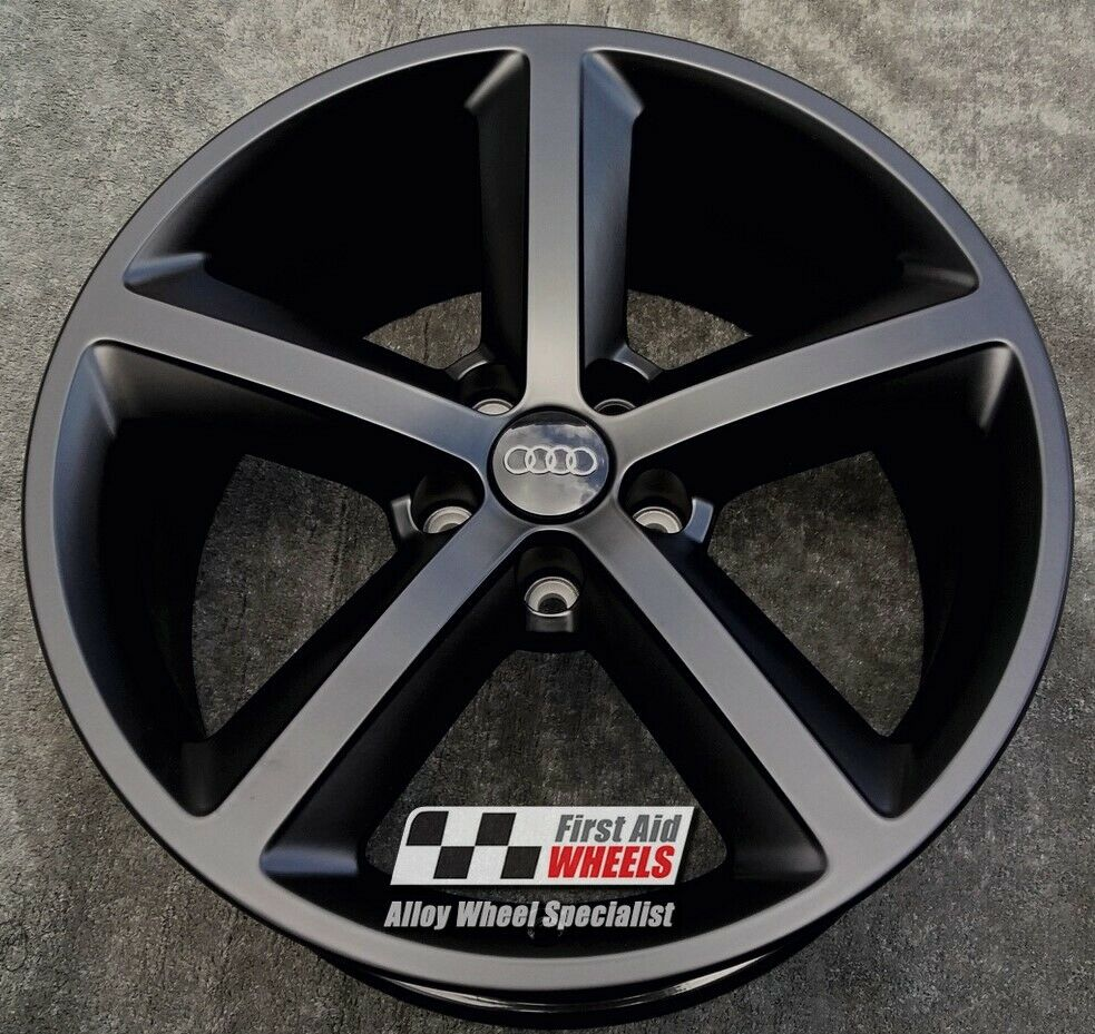 "R527BS EXCHANGE for Ours AUDI TT 4X 18"" GENUINE 5 SPOKE SATIN BLACK ALLOY WHEELS"