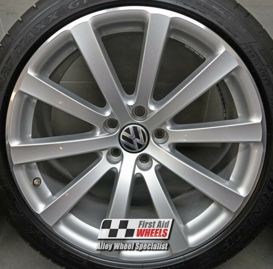 "R536DCS Exchange VW TIGUAN 4x 19"" GENUINE OAMNYT SILVER DIAMOND CUT ALLOY WHEELS"