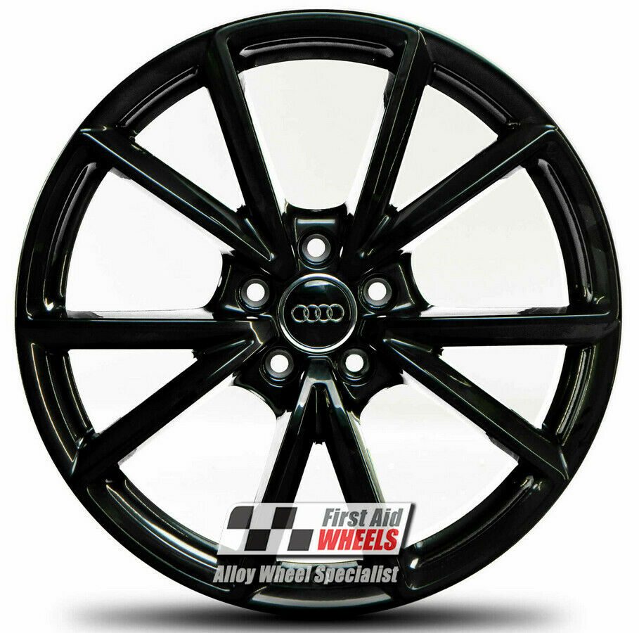 "R569BG Exchange AUDI A3 S3 8V 4x 19"" GENUINE 5 V SPOKE GLOSS BLACK ALLOY WHEELS"