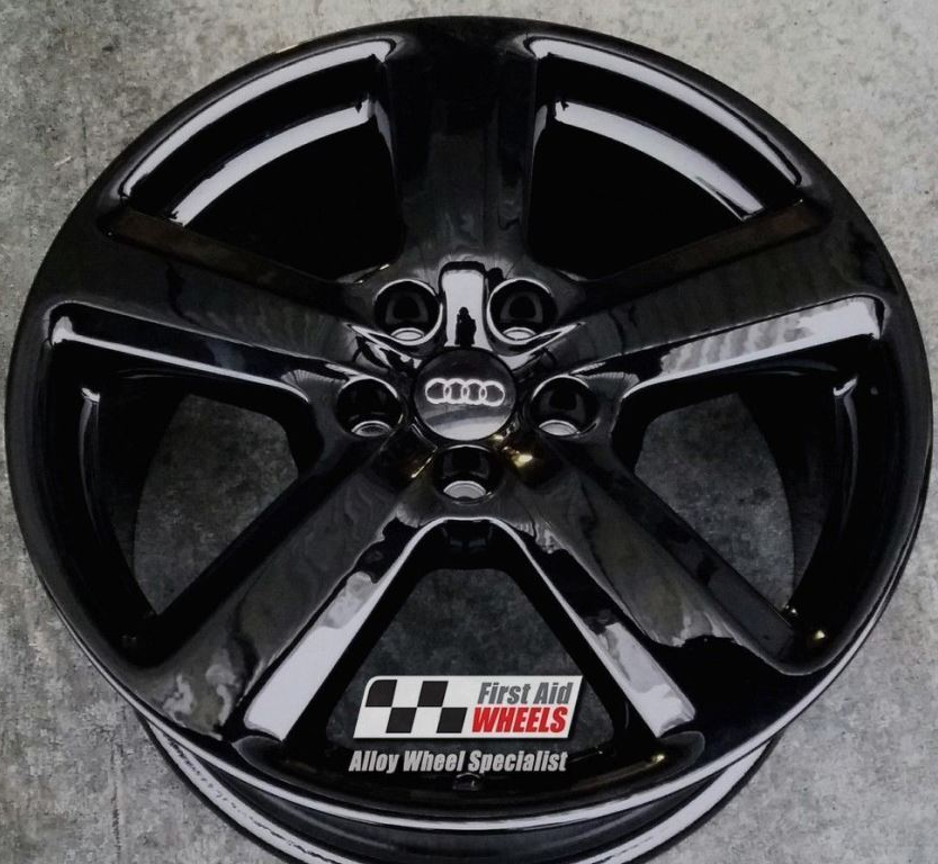 "R119 Gloss Black AUDI A4 A6 18"" - 5 Spoke Genuine S-LINE Alloy Wheels set of 4 - Exchange"