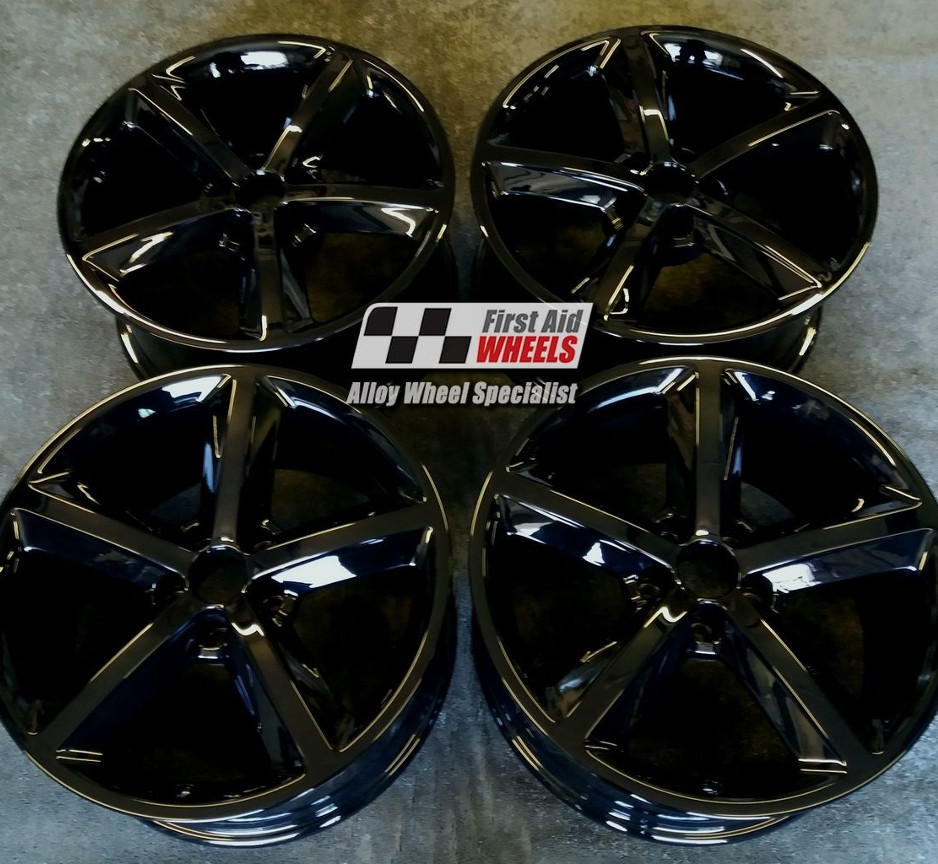 "R251 Gloss Black AUDI A4 18"" - 5 Spoke Genuine Alloy Wheels set of 4 - EXCHANGE"