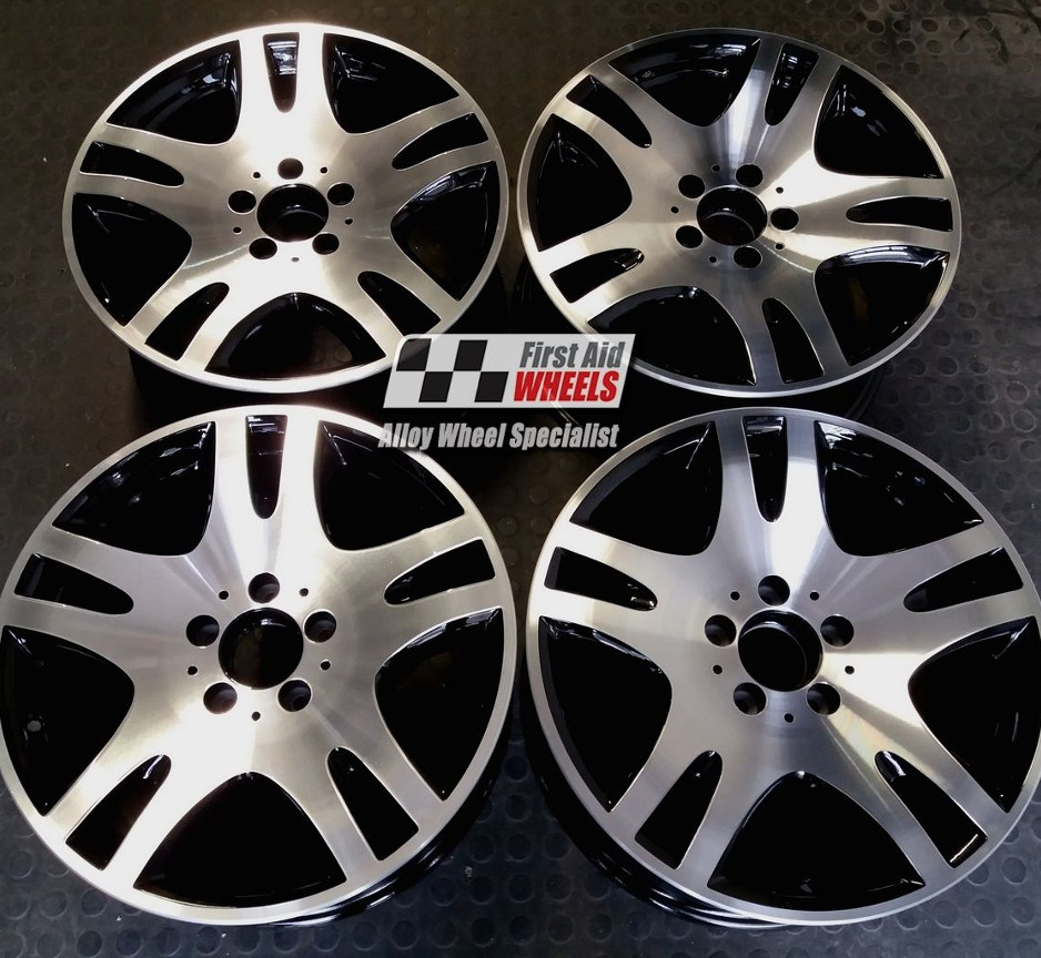 "R257 Diamond Cut Gloss Black MERCEDES E CLASS W211 17"" - ANKAA Genuine Alloy Wheels Set of 4 - EXCHANGE"