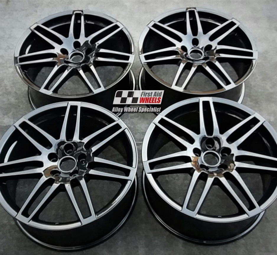"R328 Gloss Black AUDI A6 4F 19"" - 7 Double Spoke Genuine Alloy Wheels set of 4 - EXCHANGE"